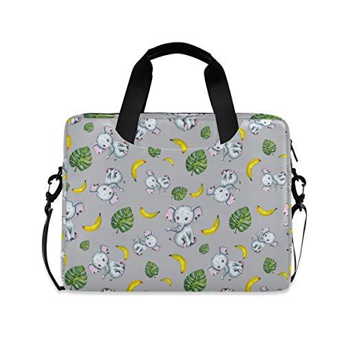 iRoad 15.6 InchLaptop Bag Case Elephant Banana Leaf Computer Case Laptop Sleeve Case with Shoulder Strap Bag for Women Men
