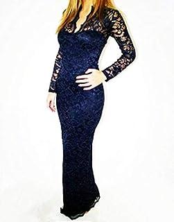 Ladies' V-neck Slim Neck Lace Women Maxi Dress Long Sleeve Wedding Evening Gg0123 Navy Size Xxl
