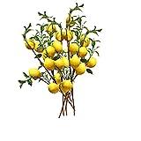 QYLJZB 6 rama de limón artificial de 50 cm, 5 limones falsos de color amarillo vivo con hojas verdes, accesorios de frutas de limón para balcón, hogar, boda, fiesta, decoración de jardín