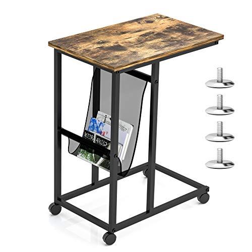Novhome Mesa auxiliar con ruedas, mesa auxiliar vintage con bolsillo lateral en forma de C para sala de estar, ordenador portátil, dormitorio, sofá de café (55,5 x 35,5 x 64,5 cm)