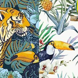 IXXI Wanddekoration (Cards 10 x10 cm) Tiger Jungle & Toucan Family - L - 120 x 160 cm Wall Decoration, großes Wandbild, Mosaikbild, Poster, Mosaik, Wanddeko, Collage, Wandbehang, Home Wanddeko