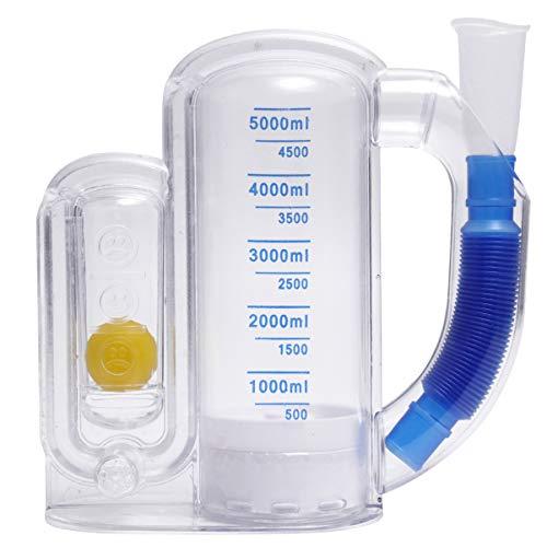 iplusmile Espirómetro volumétrico de 5000 ml, espirómetro portátil para respirar y hacer espirometría, aparato de ejercicio de respiración, capacidad vital, entrenador de respiración