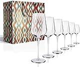 FSJIANGYUE Copas de Vino Conjunto de 6, 17 oz vástago Largo, Cristal a Mano cristalina roja y Copas de Vino Bisel Boca Caja de Plomo (Color : 505ml/17 Oz Wine Glasses Set 6)