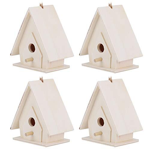 Casas de pájaros para exteriores, 4 piezas de madera para pájaros, jaula de nido colgante, casas de pájaros para decoración de jardín, patio 6.5 * 4 * 7cm