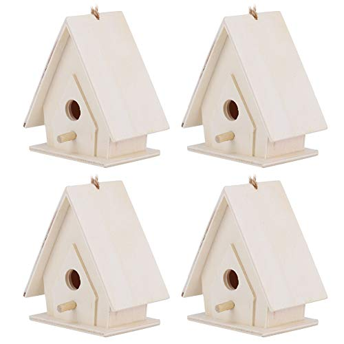 Casas de pájaros para exteriores, 4 piezas de madera para pájaros, jaula...