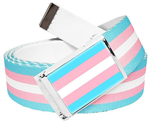 Transgender Pride Printed Stripe Military Canvas Web Belt with Flag Buckle XXX-Large
