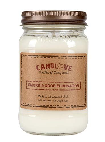 Candlove Smoke and Odor Eliminator Scented 16oz Mason Jar Candle 100% Soy Made in The USA