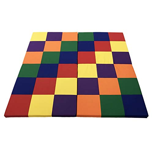 Factory Direct Partners Softscape Playtime Space Saver 4-Section Folding Activity Mat for Infants and Toddlers, Tummy Time for Babies, Soft Foam Colorful Play in Home, Daycare or Preschool - Assorted