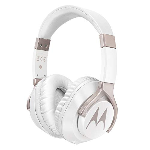 Motorola Pulse 200 Bass Over-Ear Stereo Headphone Extra Bass & Alexa (White)
