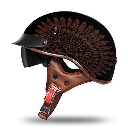 VCOROS Open Face Motorcycle Helmet Sun Visor Quick Released Buckle DOT Approved Half Face Cruise Helmets for Men Women (Indian, XL)