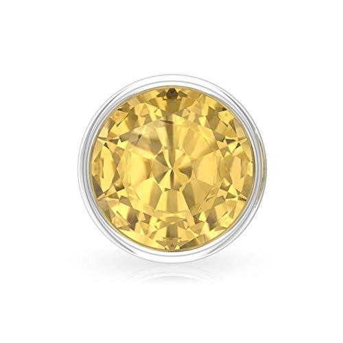 Aretes de cuarzo citrino A de 1,4 quilates, certificado SGL, pendientes redondos de piedras amarillas, pendientes apilables de oro para mujer, 92.5 Plata esterlina, Única pieza