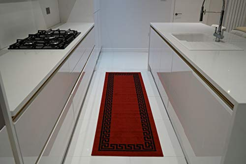 Machinewasbare Griekse sleutel, driehoek diamant designs Hall runner trap loper - Hallway-passage gang keuken antislip tapijten matten (rood zwart, 67 x 220 cm (2 '5,1 cm X7' 3))