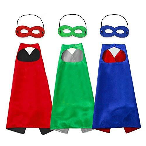 Unisex Umhang und Masken, Kostüm für Jungen und Mädchen, Blau, Grün, Rot