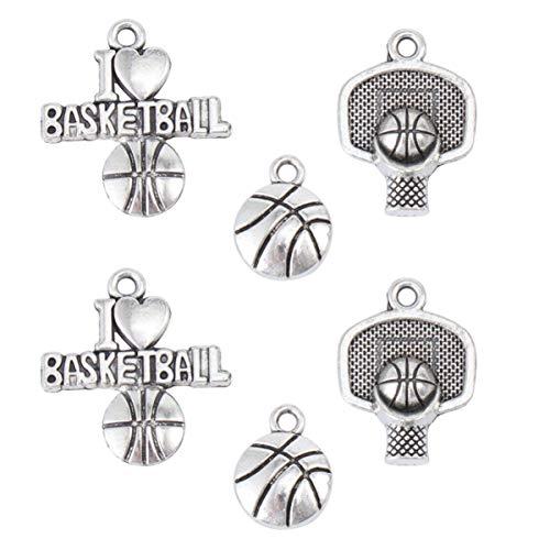 CLISPEED 6 colgantes de estilo retro de baloncesto de aleación para collar, pulsera y pulsera (plata)