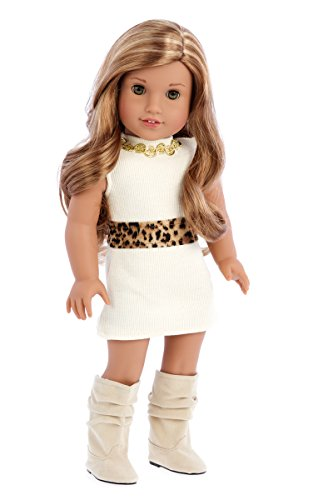 - Fashion Girl - 3 Piece Outfit - Cheetah Coat, Ivory Dress and Ivory Boots - Clothes Fits 18 Inch American Girl Doll (Doll Not Included)
