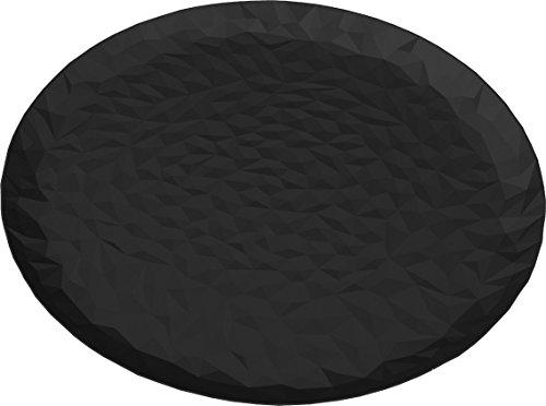 Alessi Tablett rund schwarz, Edelstahl, 14.3 x 42.5 x 24.5 cm