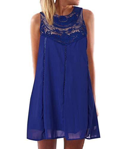 YOINS Sommerkleid Damen Kurze Elegant Strandkleid Schulterfrei Blumenmuster Sexy Kleid Ärmellos Minikleider Blau M