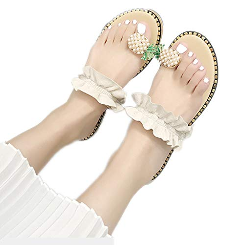 WggWy Sandalias Casuales De Moda De Encaje De Verano para Mujer, Sandalias Cómodas Antideslizantes Resistentes Al Desgaste Sandalias De Playa De Gran Tamaño con Estilo,Beige,42