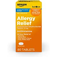 80-Count Amazon Basic Care 5mg Levocetirizine Dihydrochloride All Day Allergy Relief Tablets (Compare to XYZAL Allergy 24HR)
