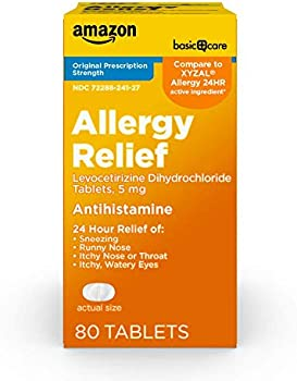 80-Count Amazon Basic Care 5mg All Day Allergy Relief Tablets