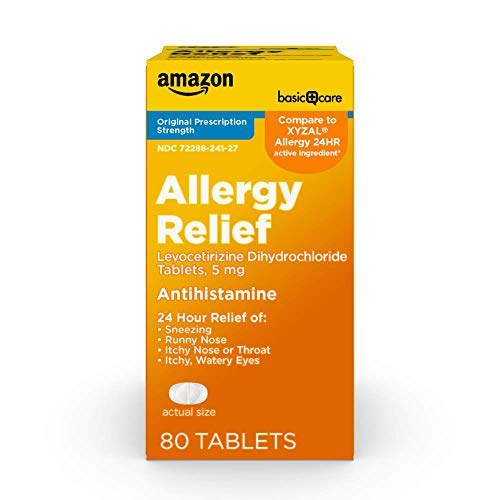 Amazon Basic Care Levocetirizine Dihydrochloride Tablets, 5 mg, Antihistamine, All Day Allergy Relief, 80 Count