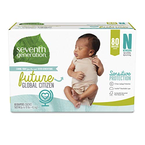Seventh Generation Baby Diapers, Sensitive Protection, Size Newborn, 80 Count