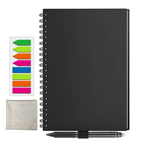 Cuaderno inteligente Reutilizable, Tamaño A5 Borrable Cuaderno Almacenamiento en la nube para Estudiante Arquitecto Periodista Escritor(PP-Negro)