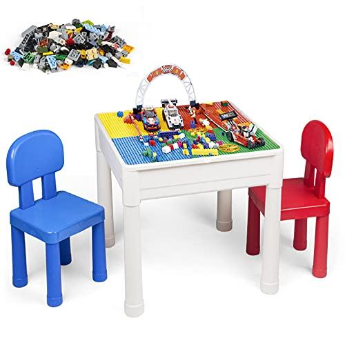 LADUO Table et Chaise Enfant, Multi-activités Table de Jeu et 2 Chaises pour Enfants, Table de Blocs de Construction, avec 100 pièces Blocs de Particules, Table dÉtude, Table de Salle à Manger
