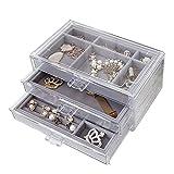QIXIAOCYB Caja de organizador de joyería Mujer, caja de almacenamiento de escritorio acrílico, caja de exhibición de joyas de 3 capas con cajón, soporte de pantalla de maquillaje, para collares, pulse