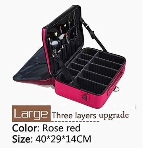 Linwei Large Capacity Cosmetic Bag Professinal Women Travel Makeup Case,Mini Soft Pink