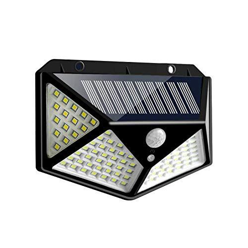Radrdior 100 LED Solar Lamp Power PIR MotionSensor Wall Lights,Solar Security Lighting Shed Lights Solar Powered Outdoor Garden Waterproof (1pcs Black)