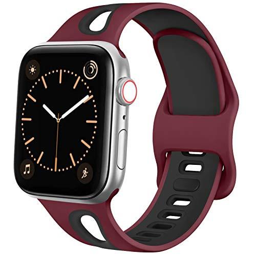 Fapi Silicone Cinturino per Apple Watch 38 mm 40 mm 42 mm 44 mm, Due Colori Cinturini con Morbido Fori Traspiranti, Sportivo Cinturino per iWatch Series 6/5 / 4/3 / 2/1 SE