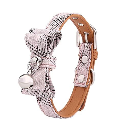 Berrywho Collar de gato de nylon elegante liberación rápida campana collar decorativo pajarita para mascotas rosa mascotas
