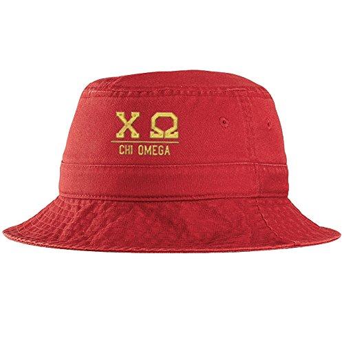 Women's Chi Omega Greek Letter Bucket Hat Red