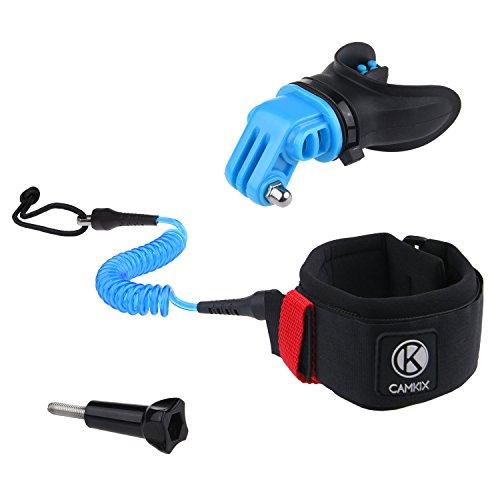 CamKix Surf Kit di Montaggio Bocca & Cinghia da Braccio Compatible con tutte le Telecamere GoPro Hero e altre Telecamere con Supporto compatibile - Soluzione a Mani Libere per Sport d'Azione Acquatici - Boccaglio: Bocchette Ventilate - Cinghia da Braccio: Cordino a Spirale