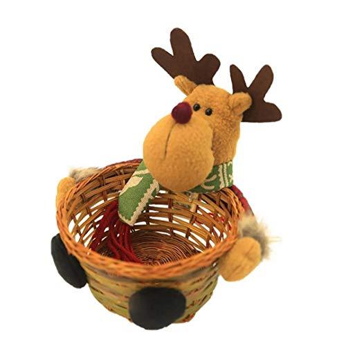 lulongyansf Titular De Caramelo De La Navidad La Cesta De Mimbre De Bambú Tejido De La Cesta Contenedores De Almacenamiento De Navidad Cesta De Almacenamiento para El Hogar Cocina Sala De