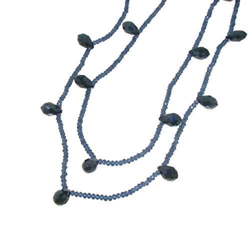 collana donna blu Linea Italia Gioielli - Collana Lunga per Donna con Cristalli e Pietre colore Blu