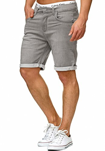 Indicode Herren Lonar Jeans Shorts mit 5 Taschen aus 98% Baumwolle | Kurze Denim Stretch Sommer Hose Used Look Washed Destroyed Regular Fit Men Short Pants Freizeithose f. Männer Lt Grey XXL