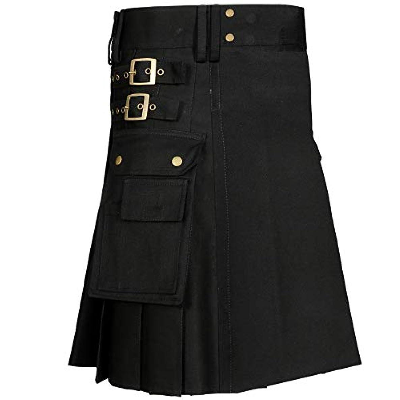 MajesticUSA Black Sport Utility Kilt for men Traditional Wedding kilt 100% Cotton Jeans -Free Leather Sporran