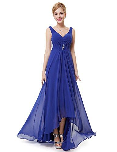 Ever-Pretty Scollo V Abito da Sera Donna Lunga High-Low Chiffon Impero Vestito da Cerimonia Blu...
