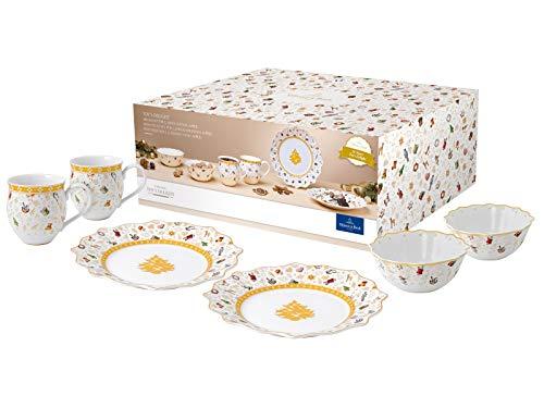 Villeroy & Boch - Toys Delight Frühstücks-Set für 2, 6tlg., weihnachtliches Geschirr-Set für 2 Personen aus der Jubiläumsedition, Porzellan, weiß