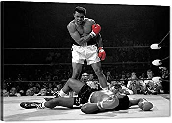 Motto Inspirational Wall Art A Famous Picture Muhammad Ali vs Sonny Liston Red Gloves Canvas Print First Minute First Round Knockout Art Wall Decor Artwork for Office Gym Easy to Hang Framed-11.81x17.71 inch