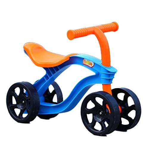 Stone Home Balance Fahrrad 4 Räder Kinder Tretroller Balancen-Fahrrad Walker Baby-Roller-Fahrrad for Kinder im Freien Fahrt auf Spielzeug Autos Verschleißfeste (Color : Blue)