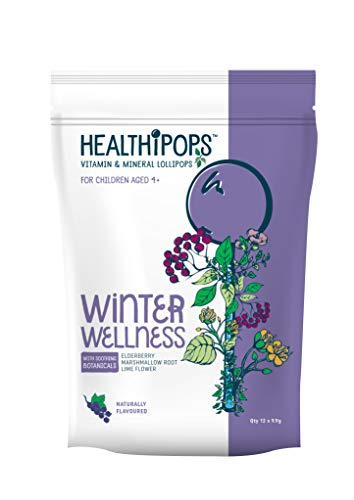 Healthipops Vitamin & Mineral Lollipops Winter Wellness with Added Soothing botanicals; Elderberry, Marshmallow Root & Lime Flower | Aged 4+ | 12 Lollipops