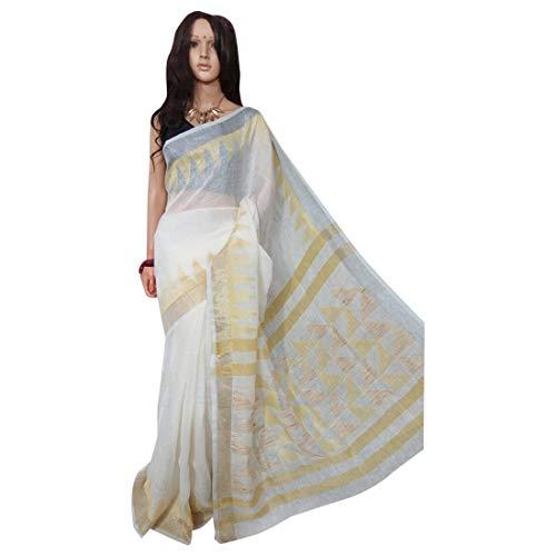 Pinkkart Tela de lino saree blanco jamdani india étnico sari hecha a mano tejedores de Village Bengal 100a