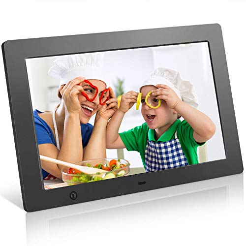 Digital Picture Frame 10.1 in, Digital Photo Frame Video Player with Motion Sensor Electronics Picture Frame High Resolution 1280x800 IPS Background Music Stereo/MP3/Calendar/Clock/Time/Remote Control 100 Digital Picture Frames