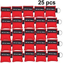 25pcs CPR Face Shield Mask Keychain Keying CPR Face Shields Pocket Mask for First Aid or CPR Training Red25