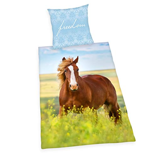 Herding Young Collection - Juego de Funda nórdica y Funda de Almohada (140 x 200 cm y 70 x 90 cm, algodón), diseño de Caballo, Algodón Franela., Multicolor, Deutsche Größe