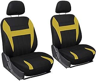 Motorup America Auto Seat Cover 6pc Set - Fits Select Vehicles Car Truck Van SUV, Yellow & Black