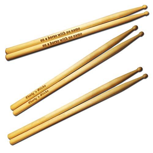 elbedruck Drum Stick Paar graviert mit Wunschtext personalisiert, Schlagzeug Stöcke Personalisieren Lasergravur 5A 5B oder 7A